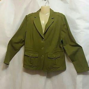 Isaac Mizrahi Live Olive Green Knit Blazer Jacket